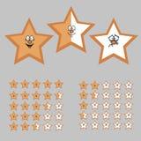 Klassa med tecknad filmstjärnor Lycklig, neutral och ledsen stjärna Arkivbild