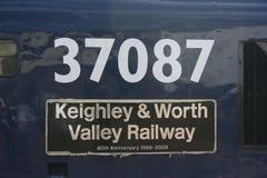 Klasse 37 37087 bij Keighley en Waard de Valleispoorweg, het Westen Yo royalty-vrije stock afbeelding