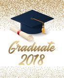 Klasse van de graduatieaffiche van 2018 met hoed en diplomarol vector illustratie