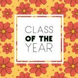 Klasse van het jaar vierkante kader en de bloemenpatroonachtergrond vector illustratie
