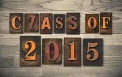 Klasse van Letterzetseltype van 2015 Houten Concept Stock Fotografie