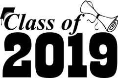 Klasse van 2019 met diploma vector illustratie