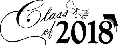 Klasse van 2018 met GLB en Diploma Stock Illustratie