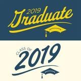 Klasse von 2019 Glückwünschen graduieren Typografie Stockbilder