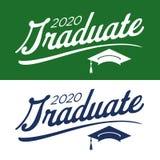 Klasse von 2020 Glückwünschen graduieren Typografie mit Kappe und T Stockfoto
