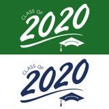 Klasse von 2020 Glückwünschen graduieren Typografie mit Kappe und T Stockfotos