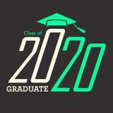 Klasse von 2020 Glückwünschen graduieren Typografie mit Kappe und T Stockbilder