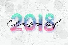 Klasse von 2018 Hand gezeichnetes Bürstenbeschriftung Staffelungslogo Schablone für Staffelungsdesign, Partei Stockfoto