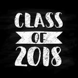 Klasse von 2018 Hand gezeichnetes Bürstenbeschriftung Staffelungslogo Schablone für Staffelungsdesign, Partei Kreideeffekt Lizenzfreie Stockfotos