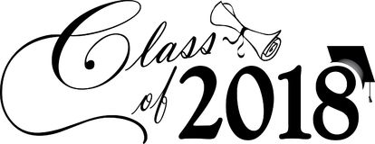 Klasse von 2018 mit Kappe und Diplom stock abbildung
