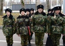Klassen in boor in de kadetkorpsen van de politie Royalty-vrije Stock Foto
