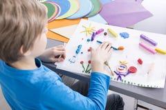 Klassen vom Plasticine in der Schule Stockbild