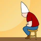 Klassenletzt-Hut-Mann auf Schemel stock abbildung