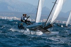 Klassensegeln Nacra 17 während der Regatta ausführlich Palma de Mallorca Stockfotografie