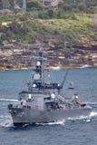 Klassenzerst?rer JS Makinami Takanami der Japan-Seeselbstverteidigungskraft Abreisesydney harbor lizenzfreie stockfotografie