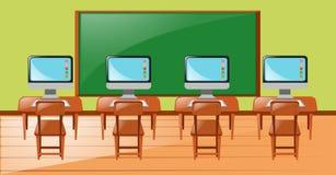 Klassenzimmer mit vier Computern auf Schreibtisch Lizenzfreie Stockfotografie