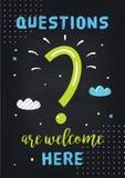 Klassenzimmer-Motivplakat auf Fragen und dem Lernen Tafel-Vektor-Design Lizenzfreies Stockbild