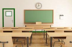 Klassenzimmer ohne Kursteilnehmer Stockfotos