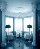 Klassiek binnenland in blauw Royalty-vrije Stock Foto's