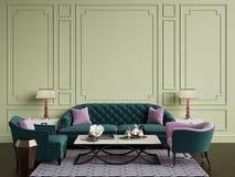 Roze Decoratie Woonkamer : Roze bank en groene stoel in woonkamer vector illustratie