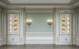 Klassiek binnenland in olijfkleuren met houten muurpanelen, showcases en blakers het 3d teruggeven Stock Afbeeldingen