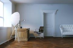 Klassiek bureau binnenlands ontwerp met houten deur 3d geef terug Royalty-vrije Stock Foto's