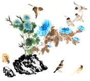 Klassiek China-- aard, vogel Stock Foto