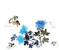 Klassiek China-- bloem en vogel Stock Afbeelding