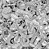 Klassiek de muziek naadloos patroon van beeldverhaal leuk krabbels Stock Foto