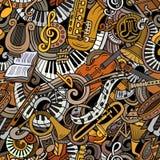 Klassiek de muziek naadloos patroon van beeldverhaal leuk krabbels Royalty-vrije Stock Afbeeldingen