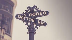 Klassiek de straatteken van de Rodeoaandrijving, Beverly Hill Stock Fotografie