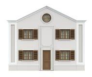 Klassiek die huis op wit wordt geïsoleerd Stock Afbeelding