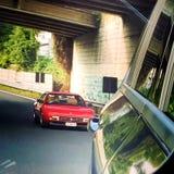 Klassiek Ferrari op weg in Treviso stock fotografie
