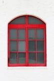 Klassiek glas rood venster Stock Fotografie