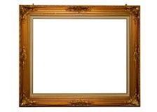 Klassiek gouden frame dat met het knippen van weg wordt geïsoleerdv Royalty-vrije Stock Foto