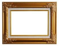 Klassiek gouden frame met het knippen van weg Stock Afbeeldingen
