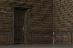 Klassiek houten binnenlands ontwerp met gesloten deur 3d geef terug Stock Foto