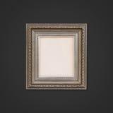 Klassiek houten kader op grijze muur Stock Foto's