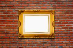 Klassiek houten kader op rode bakstenen muurachtergrond Royalty-vrije Stock Afbeeldingen