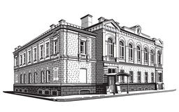 Klassiek huis in de stijl van gravure Royalty-vrije Stock Foto