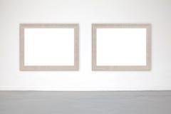 Klassiek kader op witte cementmuur in galerij Stock Afbeeldingen
