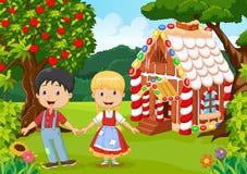 Klassiek kinderenverhaal Hansel en Gretel Stock Afbeeldingen