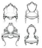 Klassiek koninklijk die meubilair met luxueuze ornamenten wordt geplaatst Stock Fotografie