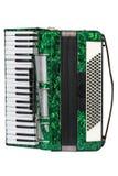 Klassiek muzikaal instrument een groene harmonika Stock Fotografie