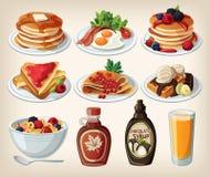 Klassiek ontbijtbeeldverhaal dat met pannekoeken, cerea wordt geplaatst