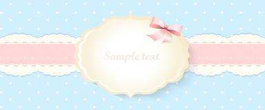 Klassiek romantisch uitnodigingsontwerp Vector Geel en blauw Stock Afbeelding