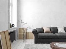 Klassiek Skandinavisch wit binnenland met bank, lijst, venster, tapijt vector illustratie