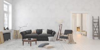 Klassiek Skandinavisch wit binnenland met open haard, bank, lijst, zitkamerstoel, staande lamp stock illustratie