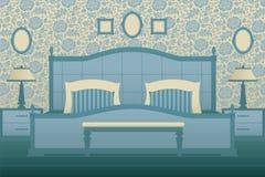Klassiek slaapkamerbinnenland Stock Foto's