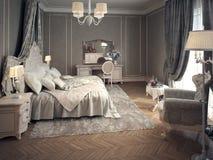 Klassiek slaapkamerbinnenland Royalty-vrije Stock Foto's